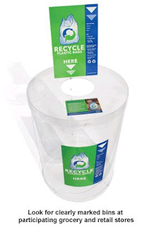 Plastic bag recycling center picture; Look for clearly marked bins at participating grocery and retail stores.