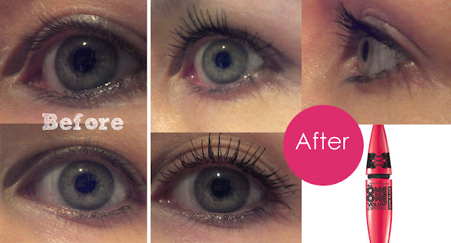 Maybelline One by One Volum' Express Satin Black mascara before and after
