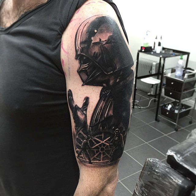 Darth vader fighting luke skywalker tattoo tattoo geek for Luke skywalker tattoo