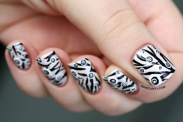 Manicurity | Freehand Zebra + Layered Dotz Mish-Mash Nail Art