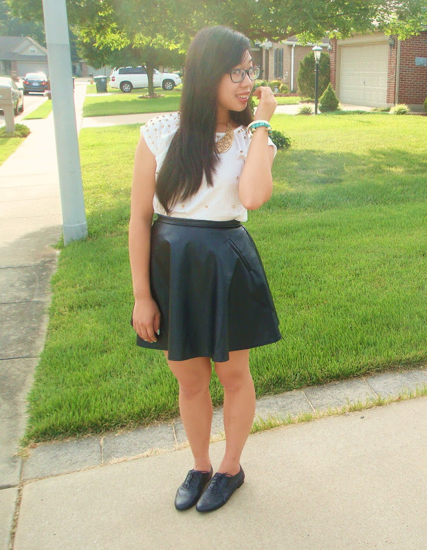 Leather Skater Skirt: TJ Maxx Studded Top: Kaiping Street Market Gold  title=