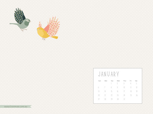 LoveMae flying birds JAN January 2013 Calendar and Illustrated Desktop Background Wallpapers