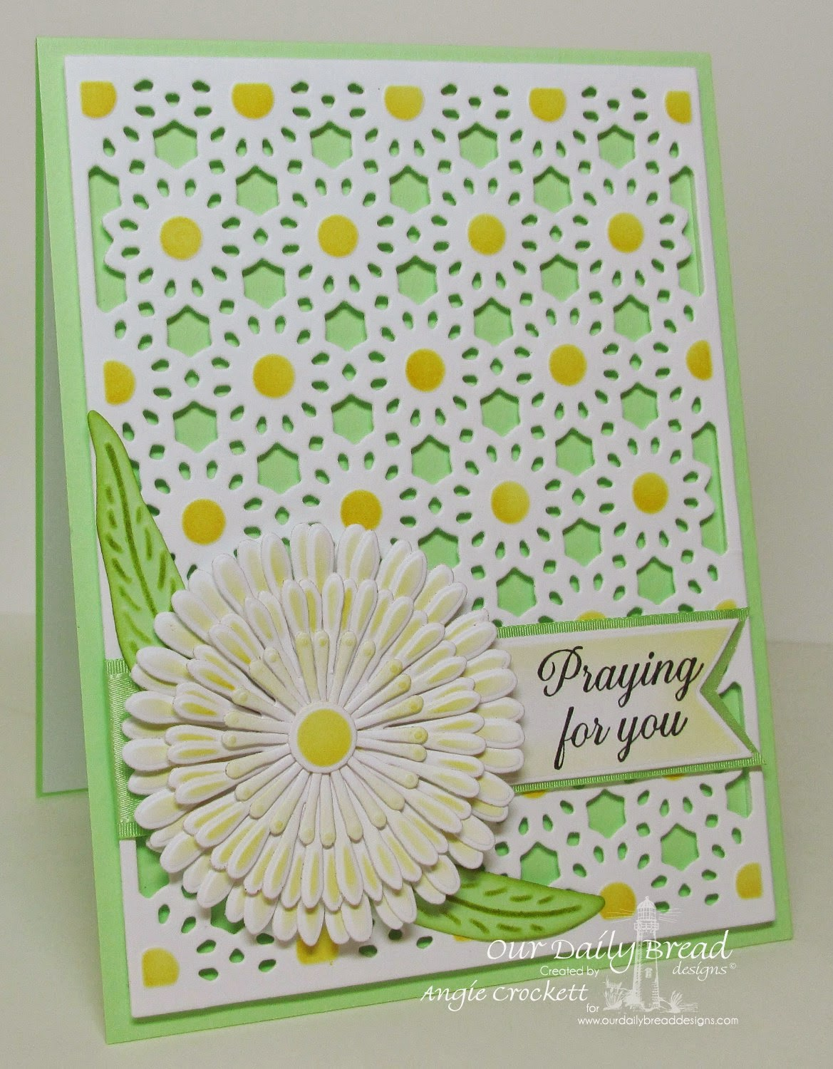 ODBD Pennants Die Set, ODBD Daisy Chain Background Die, ODBD Custom Asters and Leaves Die Set, Ornate Border Sentiments, Card Designer Angie Crockett