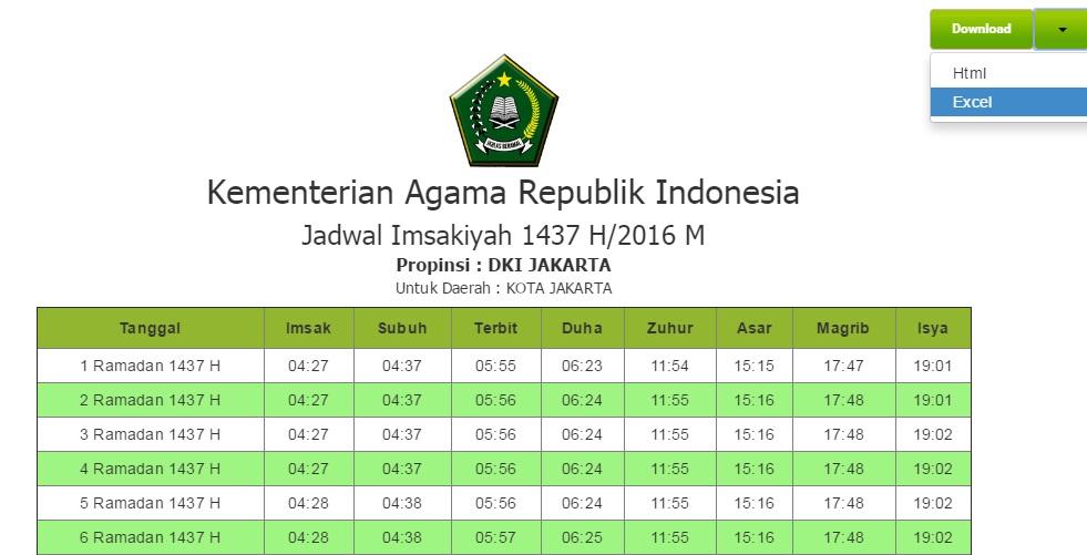 tabel jadwal imsakiyah puasa ramadhan siap didownload di Excel