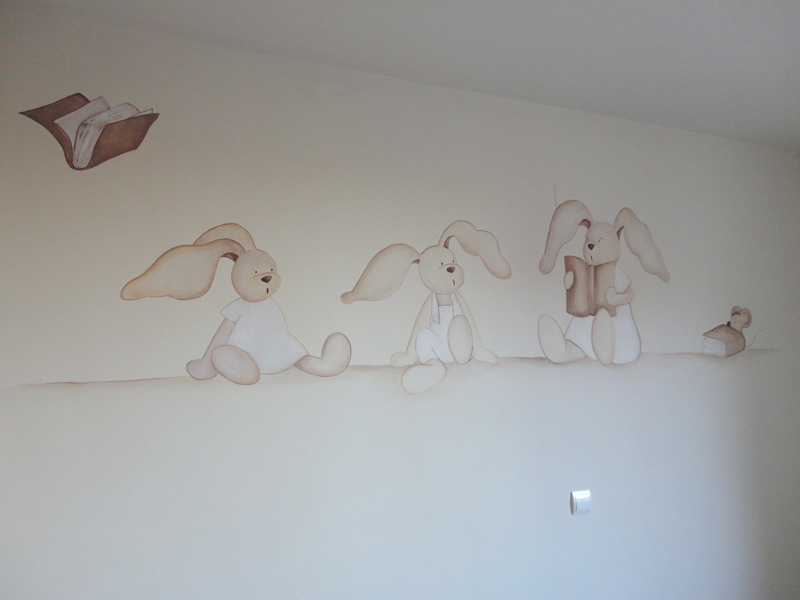 Decopared mural conejitos - Dibujos pared infantil ...