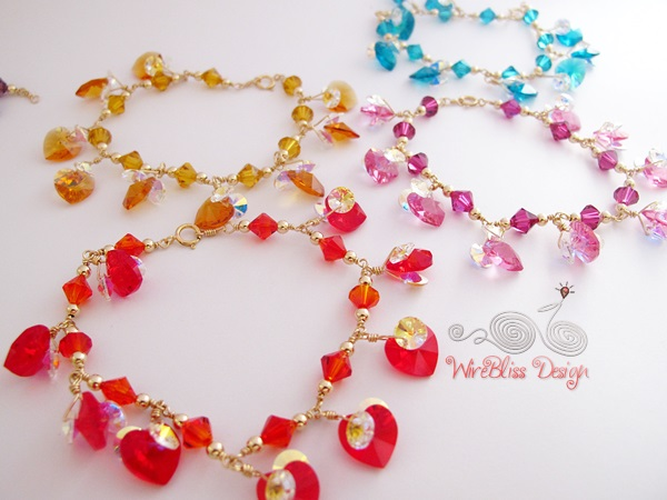 Wire wrapped swarovski crystal bracelet by Wirebliss - colorful