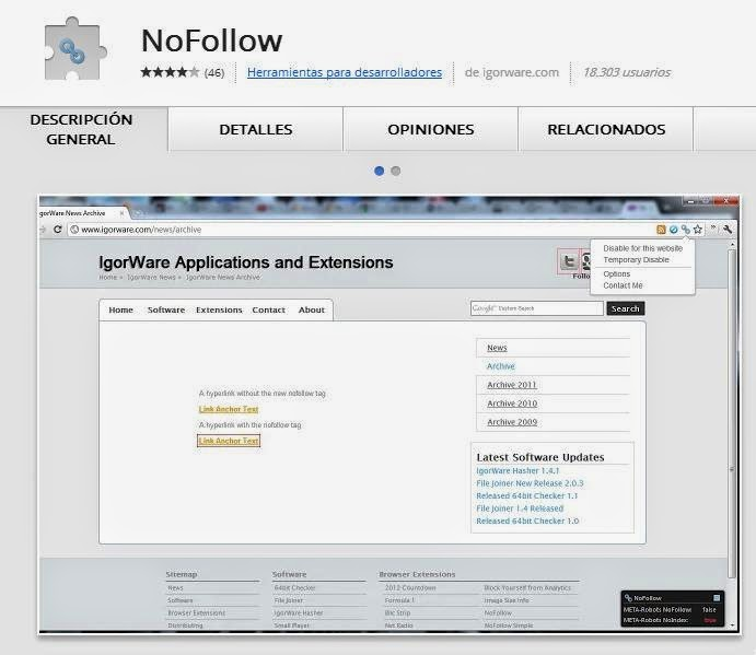 NOFOLLOW Extension Google Chrome