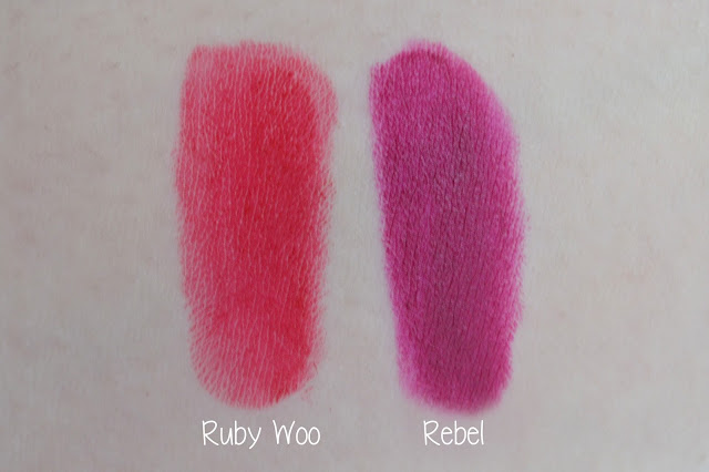 Mac ruby woo and rebel lipstick swatches
