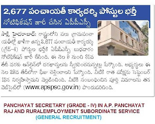 APPSC Panchayat secretary Recruitment notification 2013 | Panchayat secretary Online Application 2013