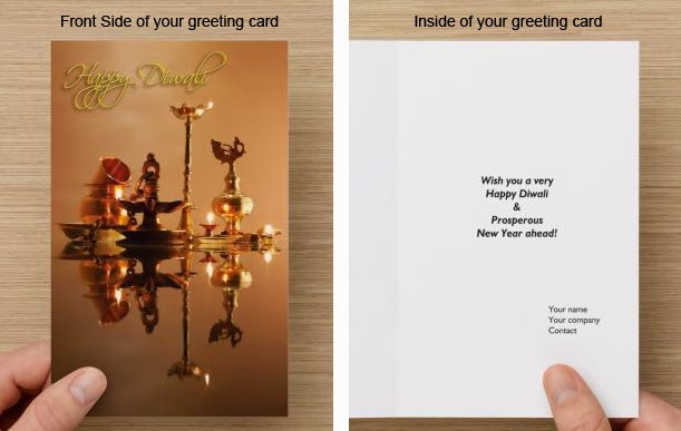 Ameka creations corporate diwali greeting cards backside of your card showing your logo and company details m4hsunfo