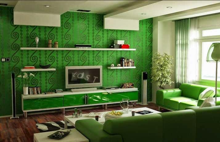 Contoh warna cat ruang keluarga minimalis.