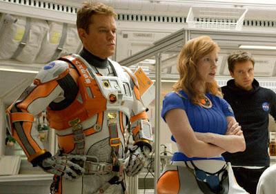 Matt Damon (Watney), Jessica Chastain (Lewis) y Sebastian Stan (Beck)