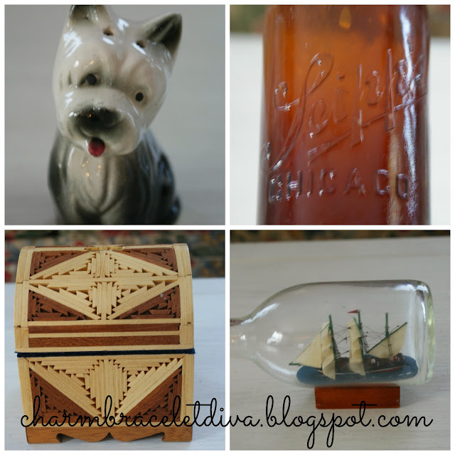 vintage terrier salt & pepper shaker, vintage Stiepps Co. beer bottle
