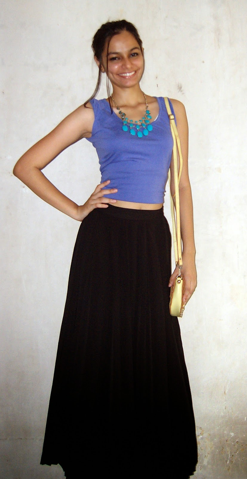 pleated maxi skirt, how to wear maxi skirts, crop tops, how to make crop tops, diy, mumbai streetstyle, neon, purple, maxi skirt, look for less, mumbai fashion blogger, indian fashion blogger, indian fashion blog