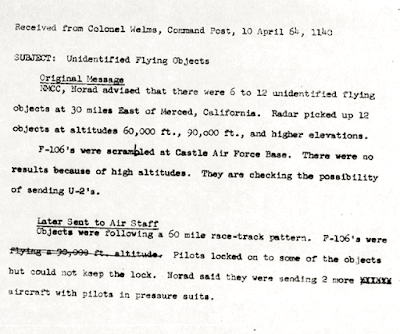 NORAD Report of Multiple UFOs 4-10-1964
