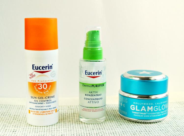 Eucerin Sun Gel-Creme, Eucerin DermoPURIFYER aktiv konzentrat,  Glamglow THIRSTYMUD
