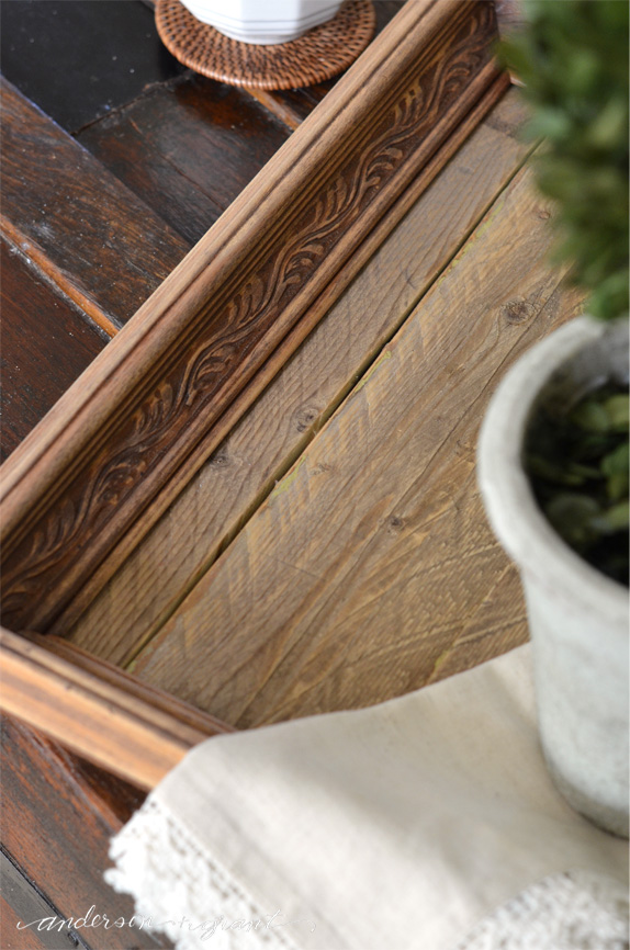 Great tutorial on how to make a DIY Tray using reclaimed wood and a thrift store frame | www.andersonandgrant.com