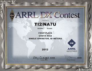 2012 CW ARRL DX Award certificate