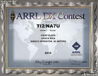 2012 CW ARRL DX Award certificate