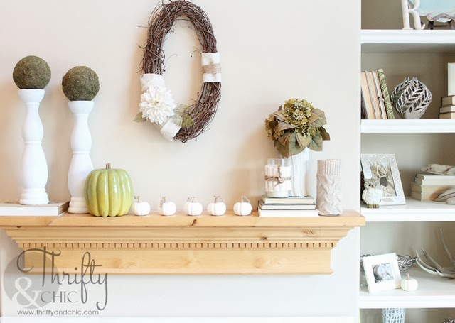 Green and White Fall Mantel