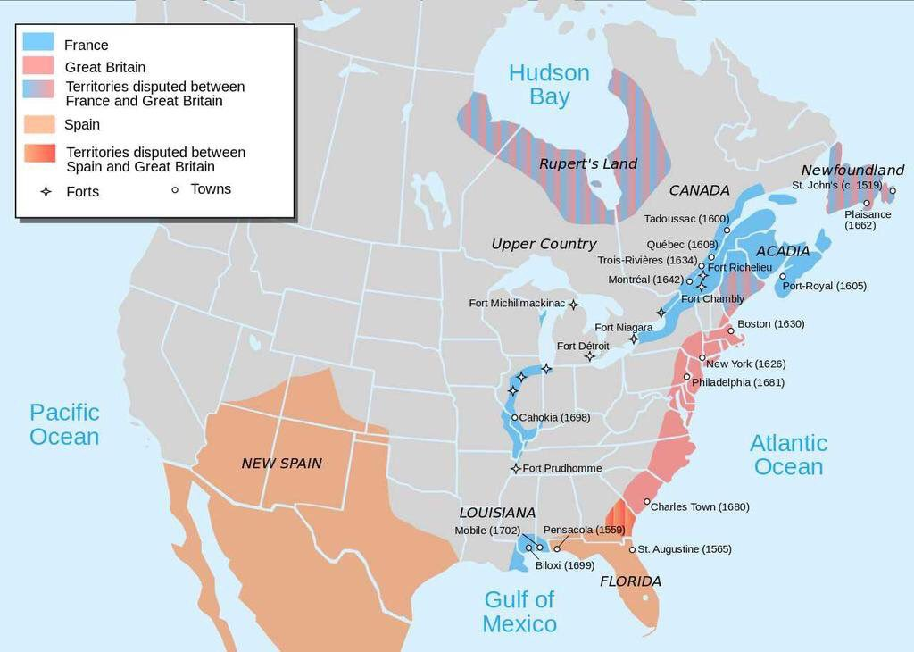Map of North America in 1702 showing areas occupied by European settlements