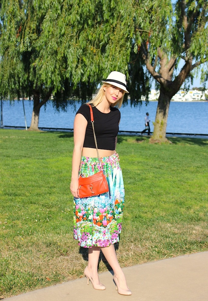 crop top and midi skirt, street style