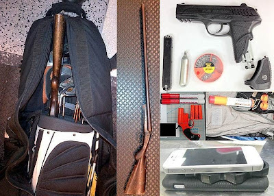 Shot Gun In Checked Golf Bag   (DTW), Pellet Pistol (DCA), Flare   Guns Discovered at (L-R) (PDX) and   (LIH), Brass Knuckles Between Cell   Phones (MCO)