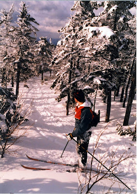 My brother Dave, somewhere above Indian Falls on the way up Marcy, March 1986.  The Saratoga Skier and Hiker, first-hand accounts of adventures in the Adirondacks and beyond, and Gore Mountain ski blog.