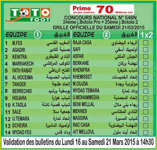 TOTO FOOT COUNCOURS NATIONAL N 546N