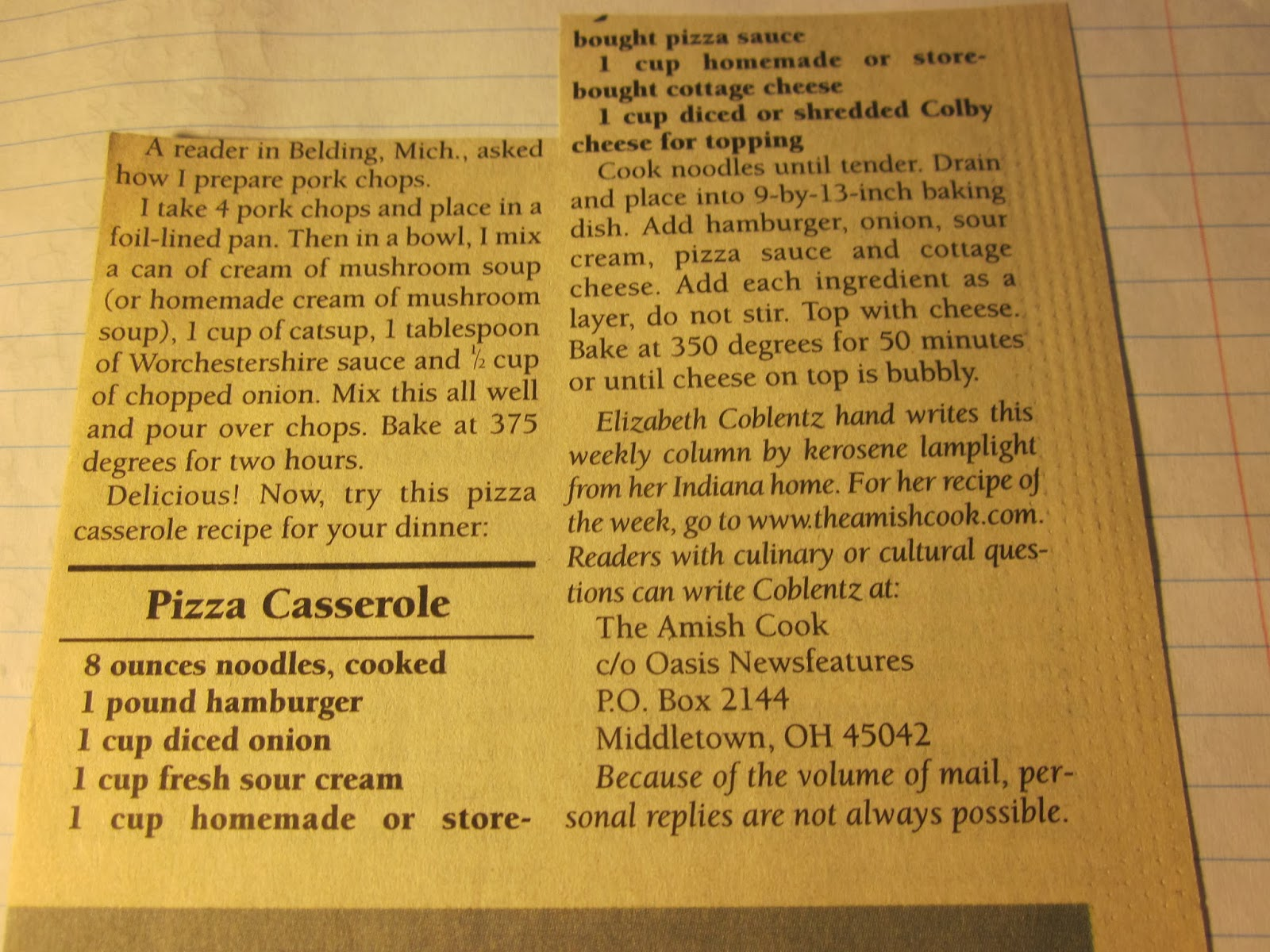 the amish cook's pizza casserole
