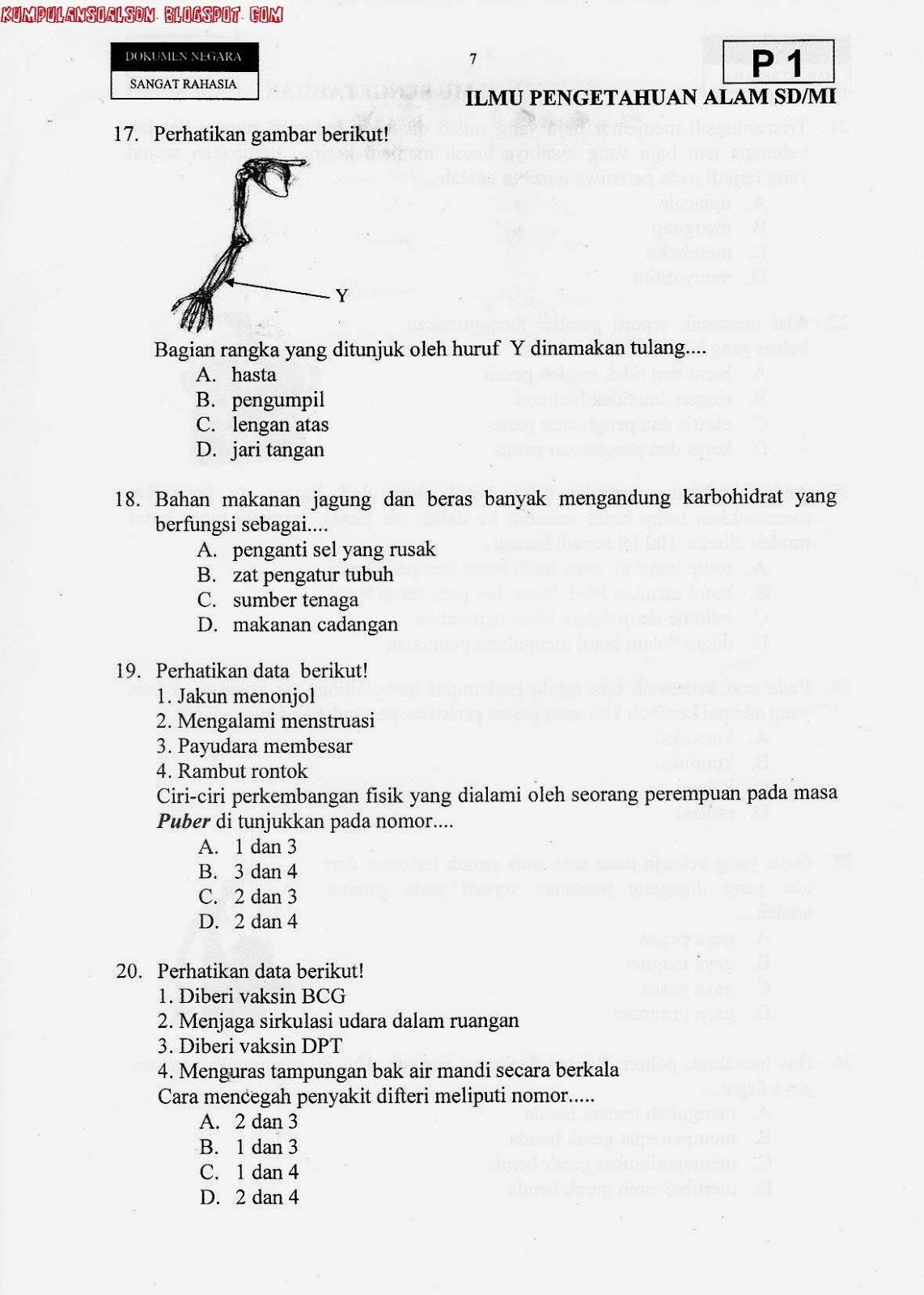 Soal Un Utama Ipa Kelas 6 Sd Ta 2012 2013 Kumpulan Soal Sd