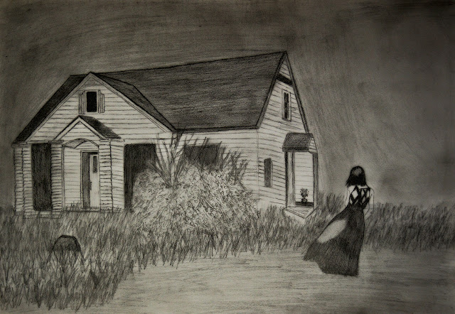 Gloomy drawing of house and girl
