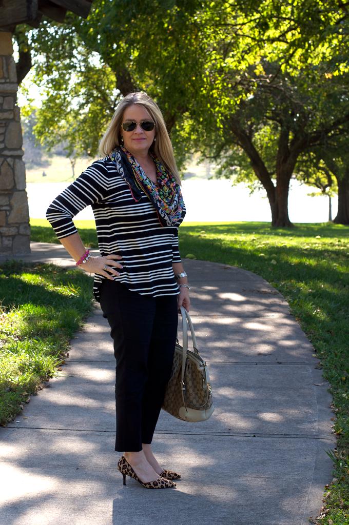 stripes-floral-scarf-leopard-heels