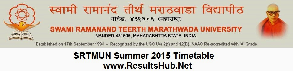 SRTMUN Nanded University Summer 2015 Timetable