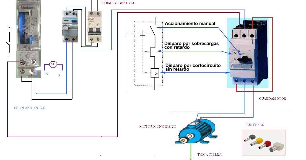 Motor Monofasico Guardamotor Y Reloj Horario Esquemas