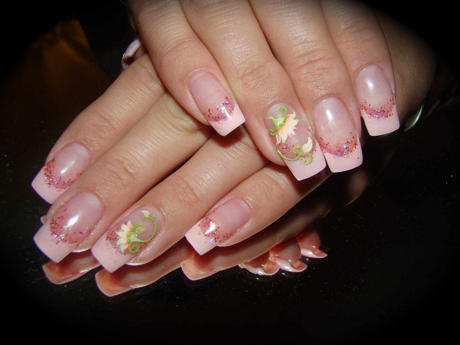 Gel French with Acrylic 3 D Flower Nail Art
