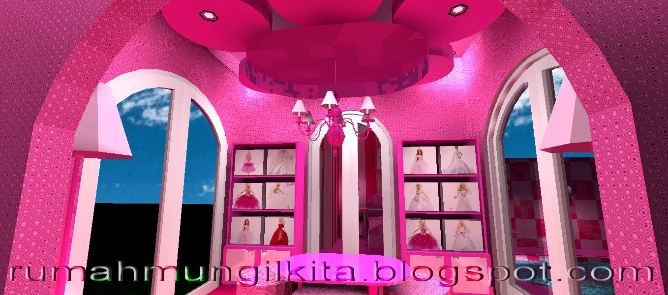 real barbie dream house castle, pink living room