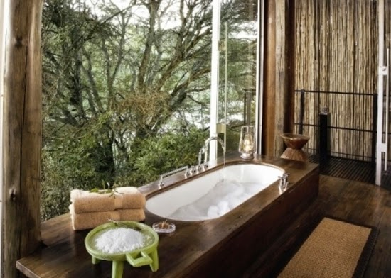 Safari Fusion blog | Bath with a view | Spectacular treetop views from an open-air bathroom at Singita Sweni Lodge, Kruger South Africa