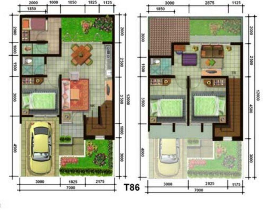 gambar denah 2 lantai 7x12 yang menarik