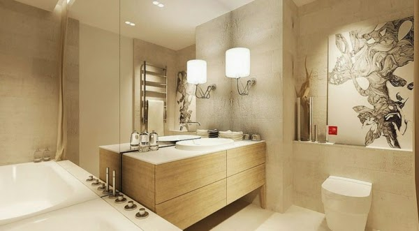 Baños Azulejos Beige:Baño moderno color beige donde el sistema de iluminación crea