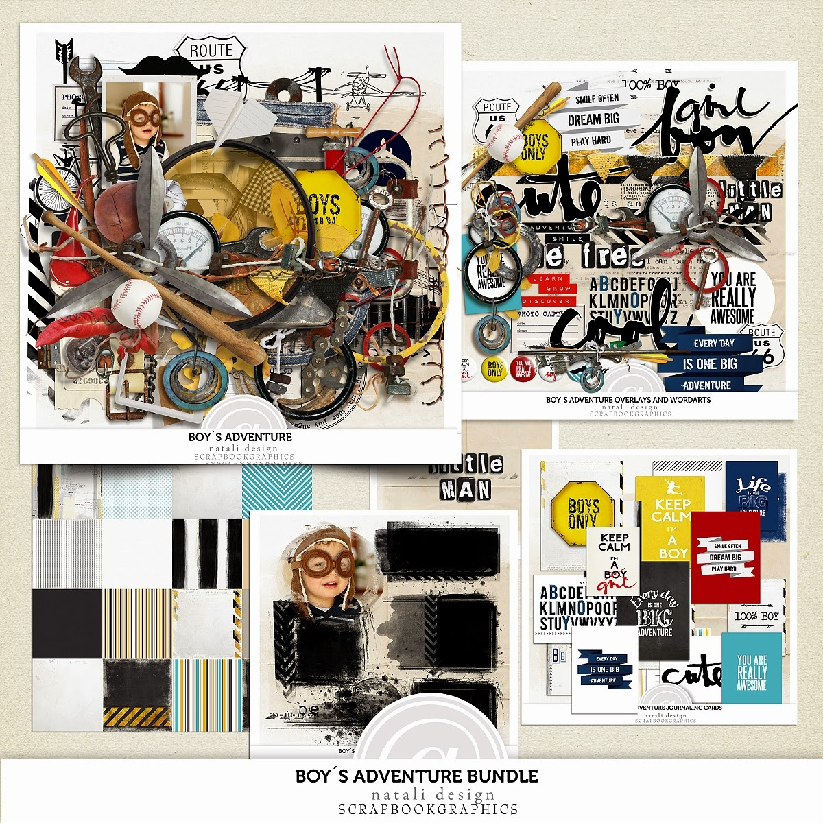 http://shop.scrapbookgraphics.com/Boy-s-adventure-Bundle.html
