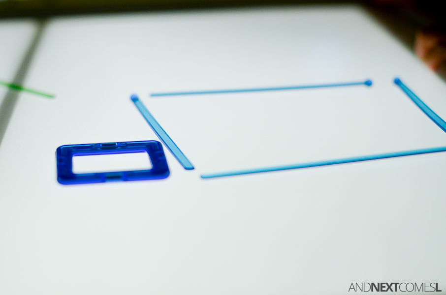 Shape Building Challenge On The Light Table   Simple Sensory Activity For  Kids From And Next