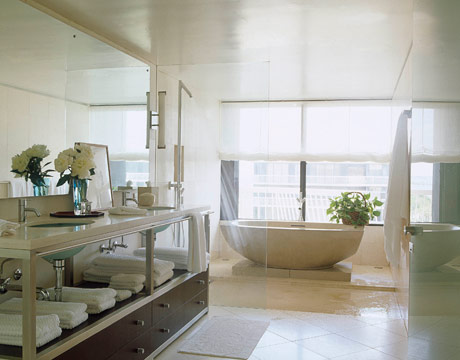 In this bathroom designed by Vicente Wolf  a unique bathroom vanity adds a  sculptural presence. Unique Bathroom Vanities    Frog Hill Designs Blog