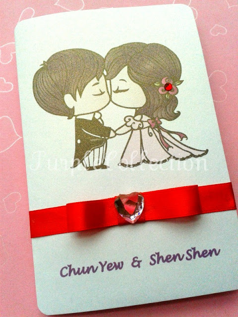 double happiness wedding invitation card    cute couple