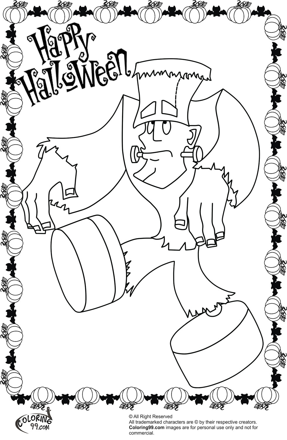 Frankenstein halloween coloring pages team colors for Frankenstein coloring book pages