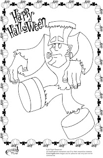 funy and cute frankenstein coloring pages