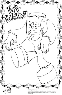 Cute halloween monsters coloring pages for Halloween frankenstein coloring pages