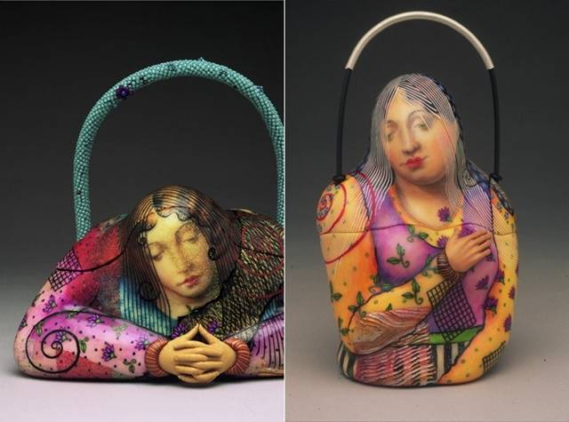 These bags are going to blow your mind off. Kathleen Dustin, who is Master of Arts, designs and makes very weird handbags. Kathleen Dustin All bags are made from polymer clay, which is famous for a special strength. Then, individual bags emphasizes painting, applique and thread, using the author's technique.  Her collections feature fruit-shaped bags, flower bags, casket bags, brush bags, icon bags and collage bags with Renaissance paintings on them.  The originality and beauty creations Kathleen has appreciated in Europe, many of its products are exhibited in the museums of North UK's principal museum of Fine Craft, Ornament magazine and the Wenham Museum (Wenham, Massachusetts). But not only the beauty and originality are the hallmarks of creations Dustin, her handbag is a functional, which, in turn, has been able to assess customers.