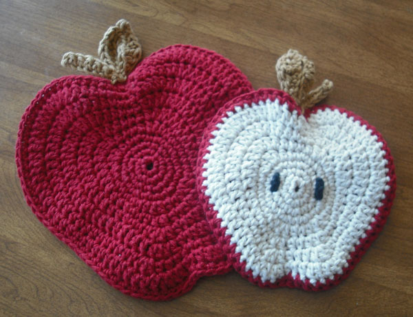 Crochet Potholders : ve decided to make my crochet pattern for apple potholders available