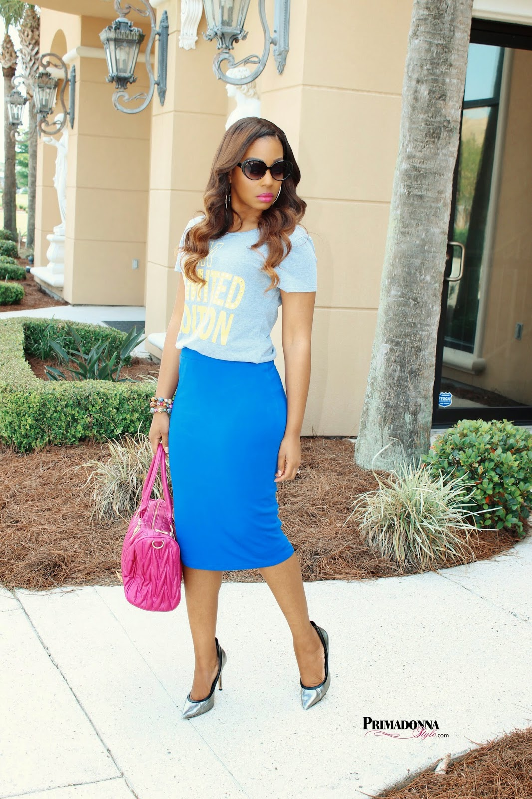 City Streets® Crop Graphic Tee  Apt 9 Midi Pencil Skirt (another option in black)  Rock & Republic  Pewter Heels  Bracelet: Baubles & Bling by Cynthia  Handbag: TJ-Maxx